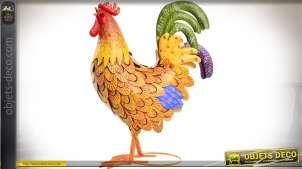 Coq décoratif multicolore en métal 40 cm