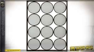 Miroir de style Art Déco à 12 faces circulaires, finition métal vieilli noir antique 45 cm