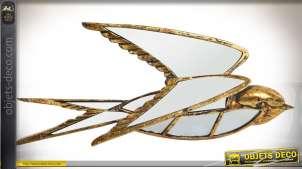 Miroir décoratif murale en forme d'oiseau, finition dorée vieillie 42 cm