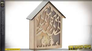 Décoration murale en bois aspect maison avec éclairage LED thème forêt 26 cm