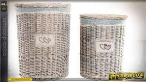 Grande Ronde Blanc Luxe Stockage blanchisserie en osier rotin panier rose doublure