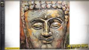 Tableau en bois et métal peint à la main : tête de bouddha 80 x 80 (relief : 77 cm)