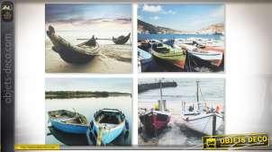 Série de 4 tableaux en 50 x 40 : thème bateaux de pêche et bord de mer
