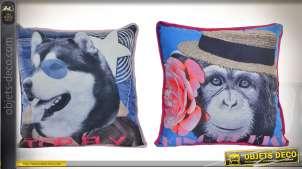 Duo de coussins décoratifs complets :  Husky et chimpanzé en 40 x 40 cm