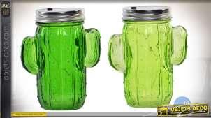 Pots décoratifs en verre en forme de cactus, avec éclairage LED 14,5 cm
