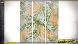 Triptyque sur bois 100 x 30 à motifs de grandes feuilles teinte verte et bois naturel
