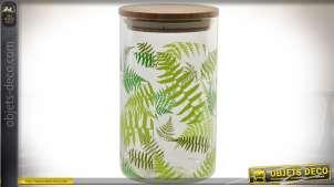 Série de 6 bocaux en verre de 1 litres avec ornementation feuilles de fougères