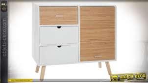 Commode scandinave 3 tiroirs 1 porte coulissante finition blanche et bois naturel