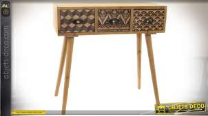 Console originale 3 tiroirs bois naturel style scandinave avec motifs graphiques