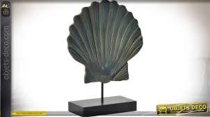 Objet déco : sculpture sur bois d'une grande coquille Saint-Jacques 33,5 cm