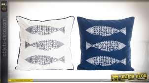 Série de 2 coussins coton et polyester thème bord de mer, blanc et bleu niuit