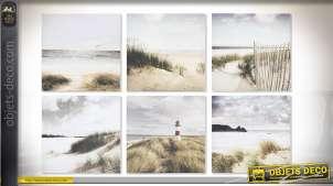 Série de 6 toiles en 40 x 40 cm : dunes et bord de mer