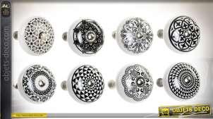 Lot de 24 boutons de portes et tiroirs en céramique à motifs noir et blanc Ø 4 cm