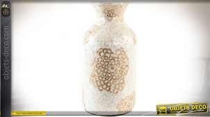 Vase en bambou avec finition blanche et dorée aspect nacré et satiné 45 cm