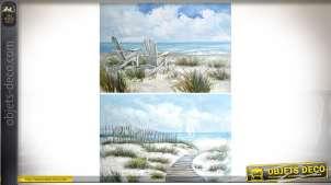 Duo de grands tableaux peints à la main sur toile, dunes et bords de mer 90 x 60 cm