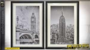 Série de 2 tableaux noir et blanc avec paillettes : Londres et New-York 90 x 60 cm