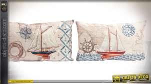 Duo de coussins 50 x 30 cm thème voiliers et bord de mer, housses en lin