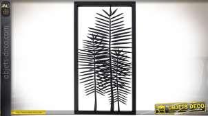 Cadre en métal déco murale avec grandes feuilles stylisées en découpe 86 cm