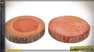 Série de 4 coussins de sol ronds en forme de coupes de troncs d'arbres Ø 39 cm