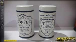 Lot de 2 pots vintage en métal Coffee et Tea
