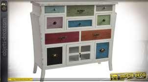 Commode originale blanc à l'ancienne avec 10 tiroirs finitions multicolore