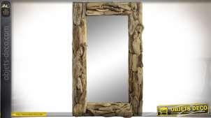 Miroir en bois flotté vieilli aspect rustique 100 x 60 cm