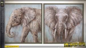 Duo de grands tableaux sur bois encadrés en 100 x 100 cm : éléphants d'Afrique