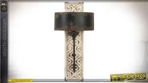 Applique murale en bois et métal style brocante blanc vieilli et métal oxydé 86 cm