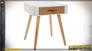 Table de chevet de style scandinave, finition blanche et bois naturel avec 1 tiroir