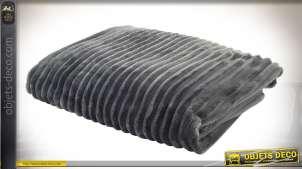 Grand plaid 170 x 170 en polyester rendu velours côtelé gris à raies larges