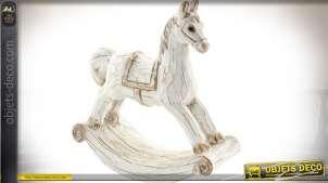 Statuette décorative en forme d'ancien cheval à bascule coloris blanc vieilli