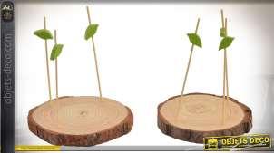 Série de 2 plateaux apéritifs en bois avec pics en forme de petits troncs d'arbres