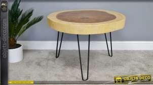 Table d'appoint en bois de suar, richement veinée et texturée, sur pieds 76cm