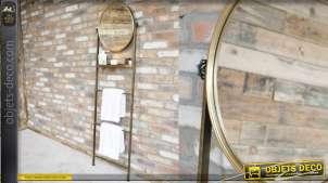 Echelle de rangement pour serviette avec tablette et miroir circulaire en métal