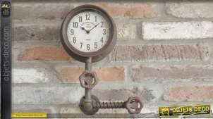 Horloge murale esprit ancien nanomètre en métal, effet oxydé de style industriel