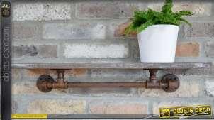 Etagère de style industriel en bois et support faon pipeline en métal oxydé 64 cm