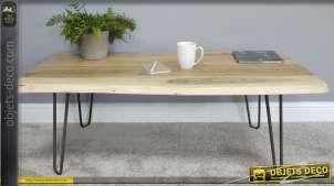 Table basse de style minimaliste, en bois d'acacia et métal finition noir usé