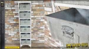 Meuble colonne en métal, 6 tiroirs type zinc effet oxydé, esprit vintage 170cm