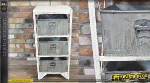 Meuble d'appoint en métal finition blanc ancien et gris zinc, 3 tiroirs style indus