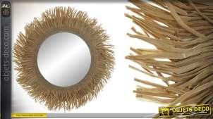 Miroir rond, esprit naturel avec encadrement en corde, 46cm de diametre