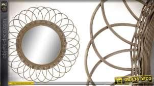 Miroir en rotin, esprit fleur/soleil finition naturelle, de forme ronde, 77cm de diamètre