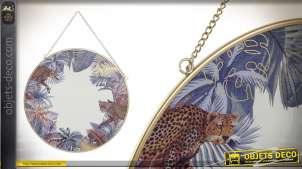 Miroir suspendu de forme ronde, esprit cabaret 1930, motifs léopard et forêt 30cm