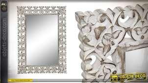 Miroir rectanguaire en bois de manguier blanchi, de style baroque, finition usée 77cm