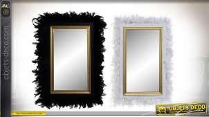 Serie de deux miroirs en bois, encadrements en plumes esprit cabaret, noir et blanc 67cm