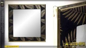 Miroir en bois de forme carrée, finition velours noir avec motifs de feuilles dorées 40cm