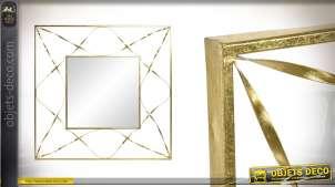Grande décoration murale avec miroir central, en métal esprit moderno-design, finition dorée 112cm