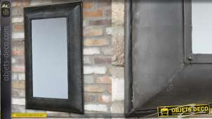 Miroir rectangulaire avec encadrement en métal noir, esprit indus avec rivets apparents 91cm