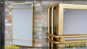 Miroir fabriqué en métal de style moderne, finition doré effet brossé 81cm