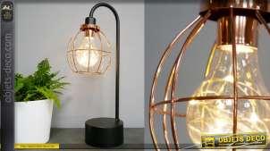 Lampe de table d'appoint en métal de style moderne, noir et rose, abat jour rond 38cm