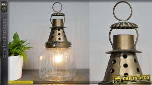 Luminaire d'appoint rétro style ancienne mine, en métal et verre finition vieilli, 37cm de haut